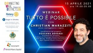 """""""Tutto è possibile"""" – Webinar aperto al pubblico con Christian Marazziti organizzato dal Rotary Club Senigallia con la partecipazione degli Istituti Superiori della città."""